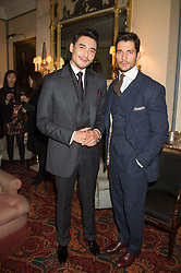 Left to right, HU BING and DAVID GANDY at a cocktail reception hosted by the Woolmark Company, Pierre Lagrange and the Savile Row Bespoke Association to celebrate 'The Ambassador's Project' for London Collections Mens at Marks Club, Charles street, London on 8th January 2016.