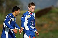 Fotball<br /> La Manga 2006<br /> Tromsø v KR Reykjavik<br /> 13.02.2006<br /> Foto: Morten Olsen, Digitalsport<br /> <br /> Ole Martin Årst gratulerer Arash Talebinejad med 1-0