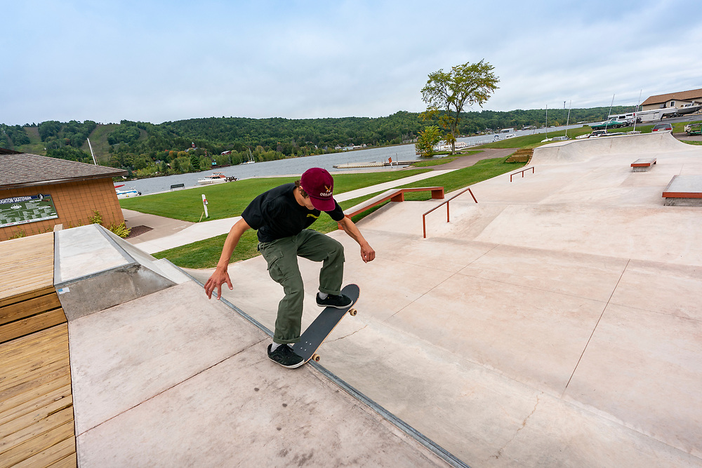 The Houghton, Michigan skatepark along the Portage Canal.