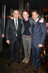 Left to right, STEPHEN URQUHART, EDDIE REDMAYNE and DOUGRAY SCOTT at the OMEGA VIP dinner hosted by Cindy Crawford and OMEGA President Mr. Stephen Urquhart held at aqua shard', Level 31, The Shard, 31 St Thomas Street, London, SE1 9RY on 10th December 2014.
