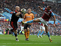 John Carew<br /> Aston Villa 2009/10<br /> Marcus Hahnemann Wolverhampton Wanderers<br /> Aston Villa V Wolverhampton Wanderers (2-2) 20/03/10<br /> The Premier League<br /> Photo Robin Parker Fotosports International