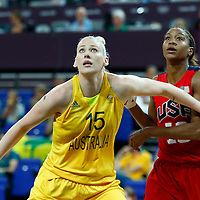 09 August 2012: Australia Lauren Jackson vies for the rebound with USA Tamika Catchings during 86-73 Team USA victory over Team Australia, during the women's basketball semi-finals, at the 02 Arena, in London, Great Britain.