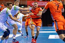 11-04-2019 NED: Netherlands - Slovenia, Almere<br /> Third match 2020 men European Championship Qualifiers in Topsportcentrum in Almere. Slovenia win 26-27 / Ivo Steins #17 of Netherlands, Blaz Blagotinsek #3 of Slovenia