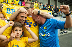 Dejan Grabic, coach, Jan Zibelnik, Darjan Sustar during celebration of NK Bravo, winning team in 2nd Slovenian Football League in season 2018/19 after they qualified to Prva Liga, on May 26th, 2019, in Stadium ZAK, Ljubljana, Slovenia. Photo by Vid Ponikvar / Sportida