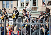 05 November 2012:    Thousands of fans filled Commonwealth Avenue to watch Aerosmith play a free concert in front of the building (No. 1325) where band members once lived.  Boston, MA. ***Editorial Use Only*****