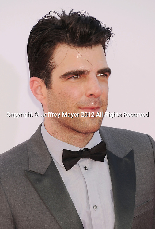 LOS ANGELES, CA - SEPTEMBER 23: Zachary Quinto arrives at the 64th Primetime Emmy Awards at Nokia Theatre L.A. Live on September 23, 2012 in Los Angeles, California.