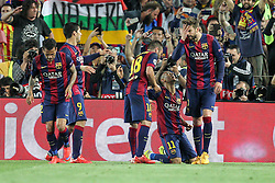 06.05.2015, Camp Nou, Barcelona, ESP, UEFA CL, FC Barcelona vs FC Bayern Muenchen, Halbfinale, Hinspiel, im Bild die Mannschaft freut sich ueber das Tor von Neymar #11 (FC Barcelona) // during the UEFA Champions League semi finals 1st Leg match between FC Barcelona and FC Bayern Munich at the Camp Nou in Barcelona, Spain on 2015/05/06. EXPA Pictures © 2015, PhotoCredit: EXPA/ Eibner-Pressefoto/ Kolbert<br /> <br /> *****ATTENTION - OUT of GER*****