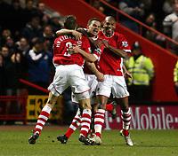 Photo: Chris Ratcliffe.<br /> Charlton Athletic v Liverpool. The Barclays Premiership. 08/02/2006.<br /> Luke Young of Charlton celebrates scoring Charlton's second goal