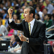 Fenerbahce Ulker's head coach Simone Pianigiani during their NBA Europe Live 2012 The four-game tour tips match Fenerbahce Ulker between Boston Celtics at Fenerbahce Ulker Sports Arena in Istanbul, Turkey, Friday, October 05, 2012. Photo by TURKPIX