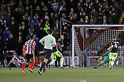 Lincoln City Forward Theo Robinson (31) scores a goal 3-1 during the The FA Cup fourth round match between Lincoln City and Brighton and Hove Albion at Sincil Bank, Lincoln, United Kingdom on 28 January 2017.