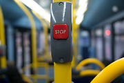 Stop button on a public transport bus in London, England, United Kingdom.