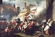 The Death of Major Pierson, 6 January 1781' ,1782-1784:  Battle of Jersey 1781 when French troops attacked St  Helier. The 24-year old Major Pierson repelled the French but died in the fighting.  He was hailed as a local hero.John Singleton Copley (1738-1815) American painter.