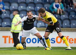 Raith Rovers Mark Stewart and Livingston Declan Gallagher.<br /> Raith Rovers 3 v 0 Livingston, SPFL Ladbrokes Premiership game played 8/8/2015 at Stark's Park.