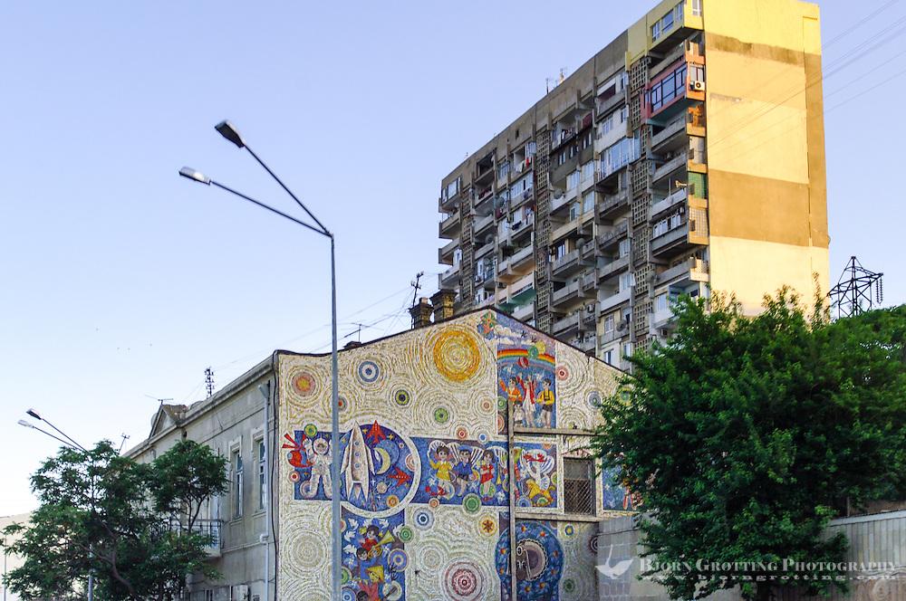 Azerbaijan, Baku. Residential building block. Low standard accommodation.