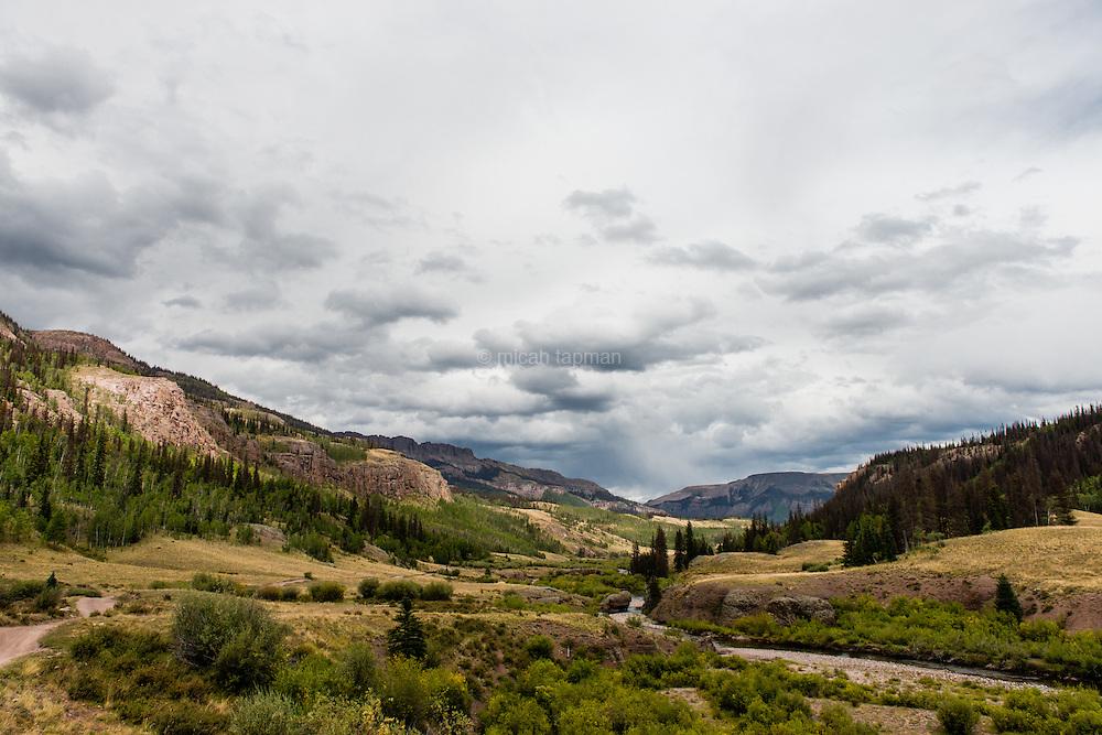 Cloudy day near the Rio Grande valley in the San Juan mountains of southwestern Colorado.