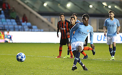 Manchester City U19's Taylor Richards scores his teams 2nd goal against Shakhtar Donetsk from the penalty spot