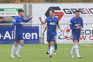 GOAL 1-0 Cove Rangers Daniel Higgins (12) scores a goal 1-0 and celebrates, celebration during the Betfred Scottish League Cup match between Cove Rangers and Hibernian at Balmoral Stadium, Aberdeen, Scotland on 10 October 2020.