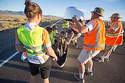 Ellen van Vugt bij de catch op de vierde racedag van de WHPSC. In de buurt van Battle Mountain, Nevada, strijden van 10 tot en met 15 september 2012 verschillende teams om het wereldrecord fietsen tijdens de World Human Powered Speed Challenge. Het huidige record is 133 km/h.<br /> <br /> Ellen van Vugt at the catch of the fourth day of the WHPSC. Near Battle Mountain, Nevada, several teams are trying to set a new world record cycling at the World Human Powered Vehicle Speed Challenge from Sept. 10th till Sept. 15th. The current record is 133 km/h.