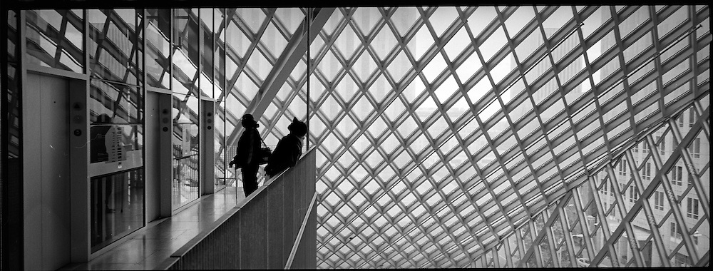 Scenic Panoramas from Seattle, WA..Waiting for an elevator at the Seattle Central Public Library