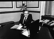 Albert Reynolds Presents Budget   (R95)..1989..25.01.1989..01.25.1989.25th January 1989..Today saw the presentation of the Budget of Albert Reynolds,TD, Minister for Finance. Mr Reynolds will present his budget to the Dáil this afternoon..The Minister for Finance, Albert Reynolds TD, is pictured at his desk as he prepares to deliver his budget spech, this afternoon to the Dáil.
