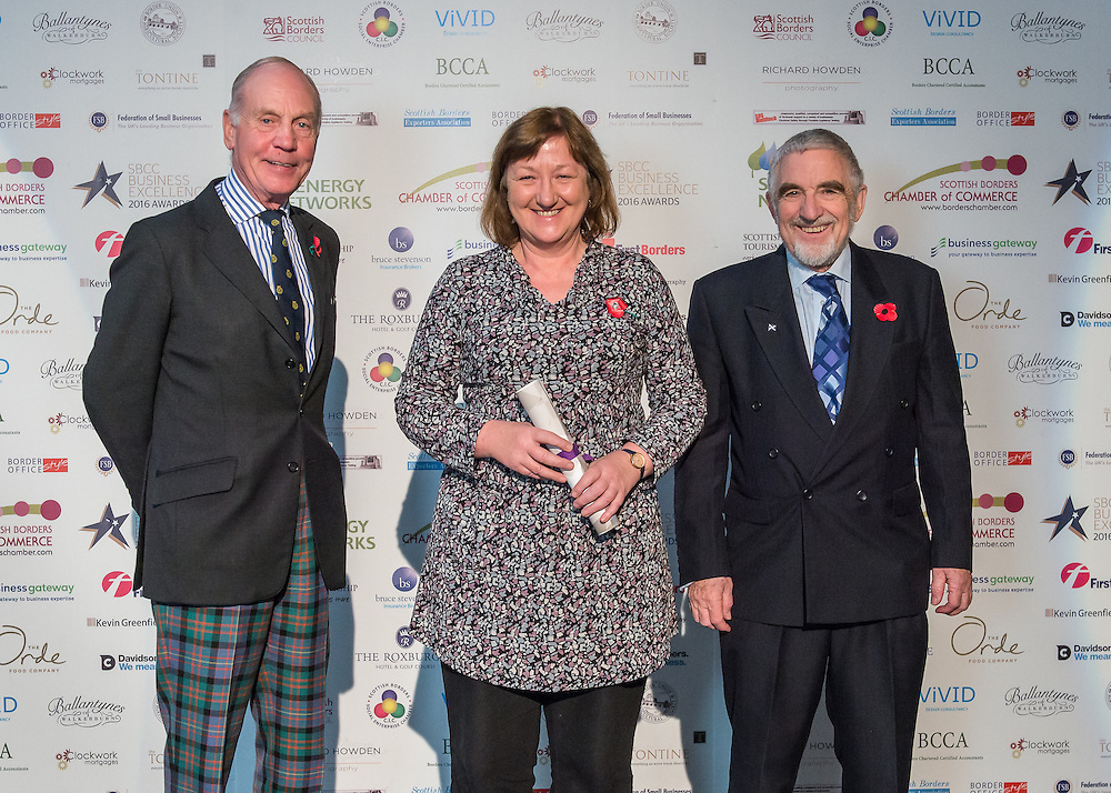 Scottish Borders Business Excellence Awards 2016, Special Award for Business of Note. Awarded by the Scottish Borders Chamber of Commerce. Winner ~ Grapevine, Galashiels.<br /> <br /> The 2016 Scottish Border Business Excellence Awards, held at Springwood Hall, Kelso. The awards were run by the Scottish Borders Chambers of Commerce, with guest speaker Councillor Stuart Bell, BSC Executive Member for Economic Development.  The SBCC chairman Jack Clark and the presenter Fiona Armstrong co hosted the event.