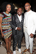 NEW YORK, NEW YORK-JUNE 4: (L-R) Actress/Poet Sarah Jones, Visual Artist Kehinde Wiley(Honoree) and Kasseem Dean aka Swizzbeatz backstage at the 2019 Gordon Parks Foundation Awards Dinner and Auction Inside celebrating the Arts & Social Justice held at Cipriani 42nd Street on June 4, 2019 in New York City. (Photo by Terrence Jennings/terrencejennings.com)
