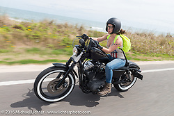 Daneille Basualdo riding Highway A1A along the coast during Daytona Bike Week 75th Anniversary event. FL, USA. Thursday March 3, 2016.  Photography ©2016 Michael Lichter.