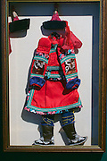 """Linz, Austria. Schlossmuseum (Castle Museum).<br /> Marco Polo exposition """"Von Venedig nach China (From Venice to China)"""".<br /> Miniature Mongolian clothes."""