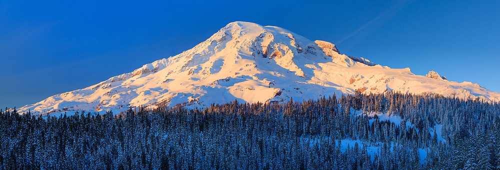 Mount Rainier in the winter, seen from the south side