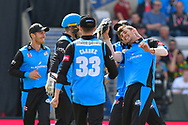Wicket - Ed Barnard of Worcestershire celebrates running out Dane Vilas of Lancashire during the Vitality T20 Finals Day Semi Final 2018 match between Worcestershire Rapids and Lancashire Lightning at Edgbaston, Birmingham, United Kingdom on 15 September 2018.