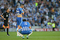 Football - 2017 / 2018 Premier League - Brighton and Hove Albion vs. Manchester City<br /> <br /> Lewis Dunk of Brighton squats at the final whistle as his own goal makes sure there is no dream start for Brighton in the Premier League at The Amex Stadium Brighton <br /> <br /> COLORSPORT/SHAUN BOGGUST
