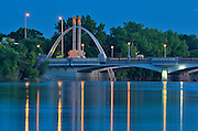 Norwood Brige over the Red River at dusk<br /> Winnipeg<br /> Manitoba<br /> Canada