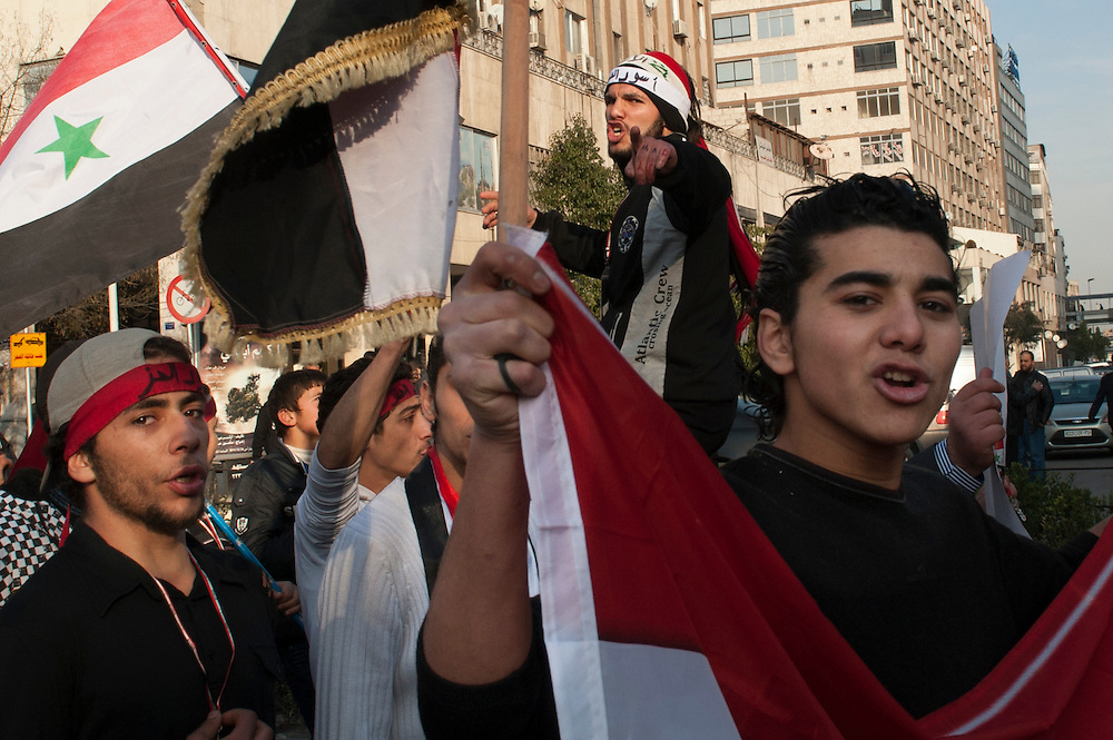 January 10, 2012, Damascus, Syria. Demonstrators in favor of Bachar el-Assad in the old city of Damascus during the civil war.<br /> <br /> 10 janvier 2012, Damas, Syrie. Manifestants en faveur de Bachar el-Assad dans la vieille ville de Damas pendant la guerre civile.