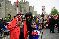 ©  London News Pictures. 21/04/2016. Windsor, UK. SANDY CHANNER (left) and SANDRA MARTIN (right) from Gogglebox, outside Windsor Castle ahead of a walkabout by HRH Queen Elizabeth II  in the town of Windsor, Berkshire on the day of her 90th birthday.  Queen Elizabeth is currently the longest serving monarch of the UK, having served for over 60 years. Photo credit: Ben Cawthra/LNP