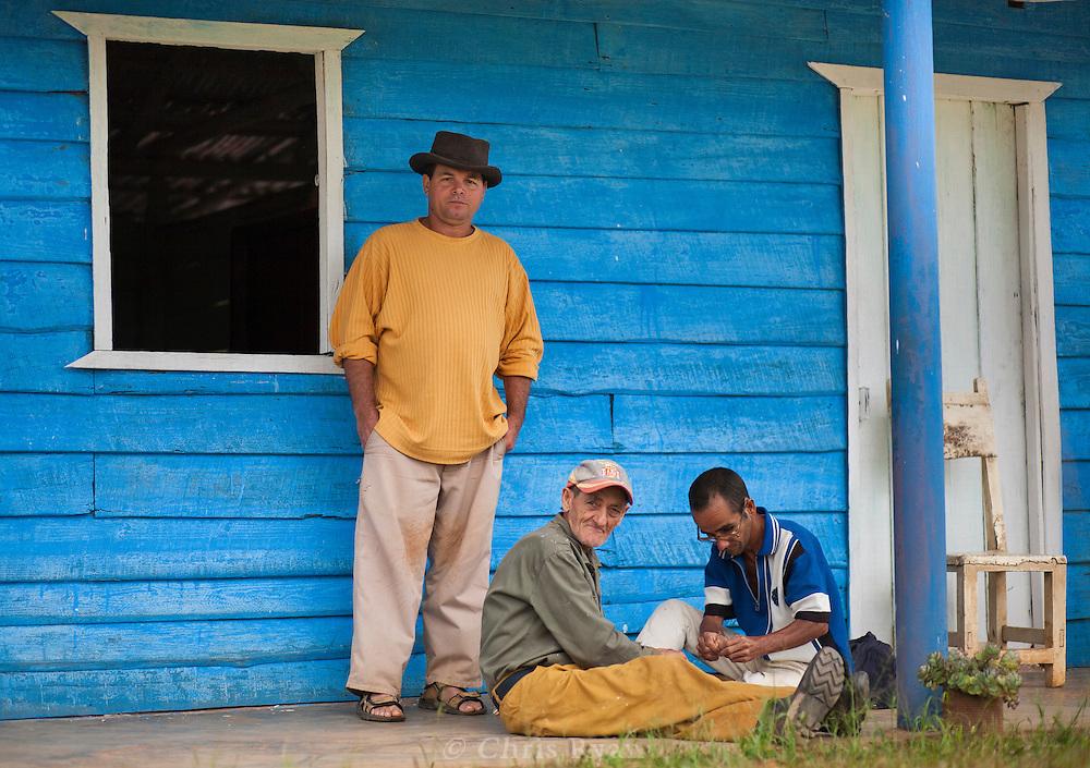 Farmers separating coffee berries, Vinales Valley, Cuba