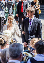 Wedding ceremony of heir of the throne of German House of Hanover, Prince Ernst August Jr. of Hanover, Duke of Braunscshweig and Lueneburg, and Russian designer Ekaterina Masysheva at the Marktkirche church in Hanover, Germany, 08 July 2017. The son of Prince Ernst August of Hanover Sen., who is married to Princess Caroline of Monaco, is related to several royal houses in Europe. The House of Hanover is a German royal dynasty that also ruled the United Kingdom between. Ernst-August Sr.'s own father (Ernst-August IV) opposed his son's marriage to first wife Chantal, a Swiss commoner. Photo by Robin Utrecht/ABACAPRESS.COM