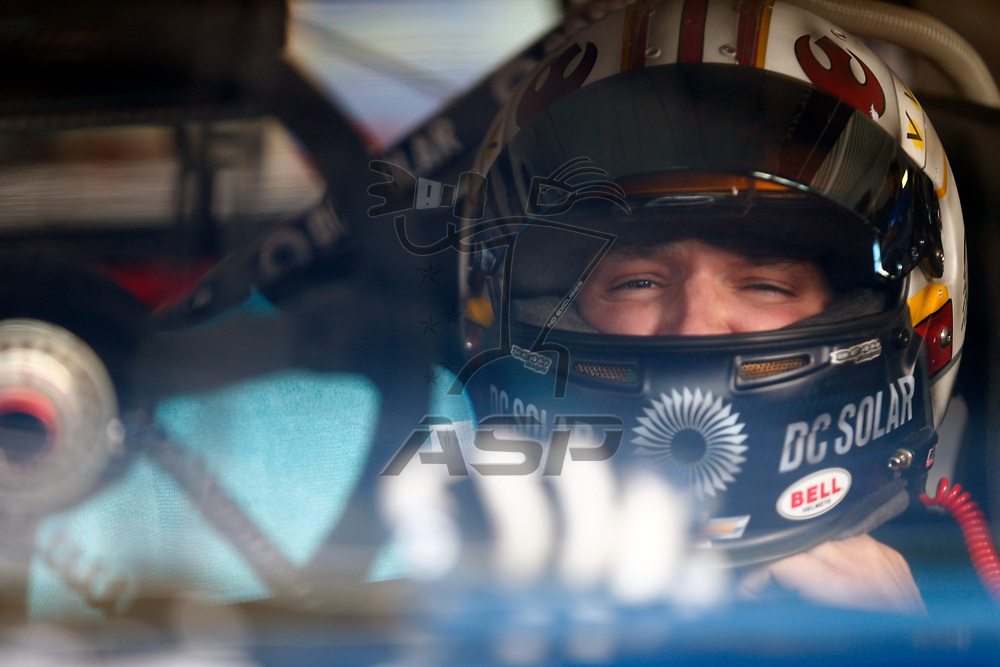 October 20, 2017 - Kansas City, Kansas, USA: Brennan Poole (48) hangs out in the garage during practice for the Kansas Lottery 300 at Kansas Speedway in Kansas City, Kansas.