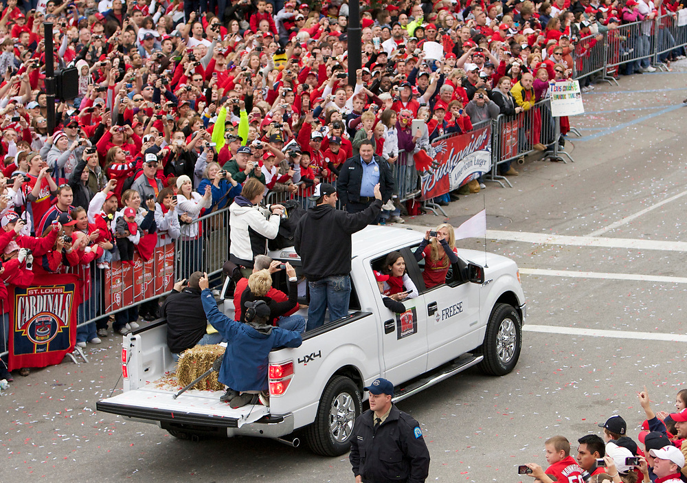 The St. Louis Cardinals victory parade on October 30, 2011, after winning the World Series Championship.