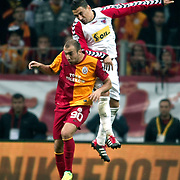 Galatasaray's Sercan YILDIRIM (L) during their Turkish Superleague soccer match Galatasaray between Mersin Idman Yurdu at the Turk Telekom Arena at Aslantepe in Istanbul Turkey on Saturday 05 November 2011. Photo by TURKPIX