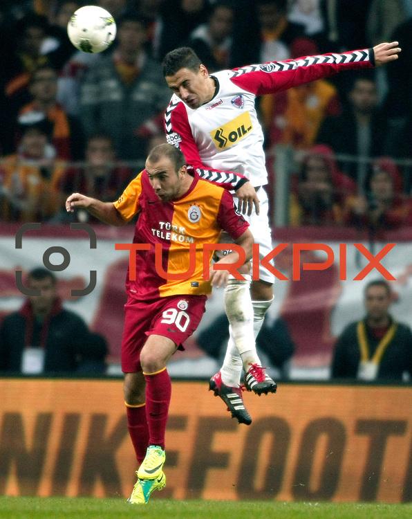 Galatasaray's Sercan YILDIRIM (L) during their Turkish Superleague soccer match Galatasaray between Mersin Idman Yurdu at the Turk Telekom Arena at Aslantepe in Istanbul Turkey on Saturday 05 November 2011. Photo by TURKPIX