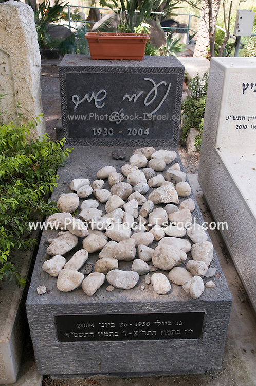 Israel, Sea of Galilee, Kibbutz Kinneret Cemetery Grave of the poet Naomi Shemer (1930 - June 2004)