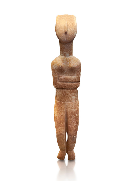 Female Cycladic statue figurine with folded arms of the Spedos and Dokathismata type. Early Cycladic Period II (2800-3200) from Naxos. National Archaeological Museum, Athens.   White background.<br /> <br /> <br /> This Cycladic statue figurine is of the Spedos type standing on tip tie with bended knees and arms folded under the breasts with head raiised. .<br /> <br /> If you prefer to buy from our ALAMY PHOTO LIBRARY  Collection visit : https://www.alamy.com/portfolio/paul-williams-funkystock/cycladic-art-artefacts.html Type into the LOWER SEARCH WITHIN GALLERY box to refine search by adding background colour, place, museum etc<br /> <br /> Visit our CYCLADIC CIVILISATIONS PHOTO COLLECTIONS for more photos to download or buy as wall art prints https://funkystock.photoshelter.com/gallery-collection/Cycladic-civilisation-Ancient-Greek-Artefacts-art-Photos-Pictures-Images/C0000CmevVvnC.XU