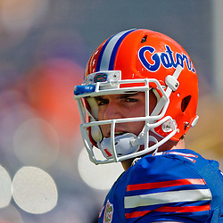 Oct 12, 2013; Baton Rouge, LA, USA; Florida Gators quarterback Max Staver (12) prior to a game against the LSU Tigers at Tiger Stadium. Mandatory Credit: Derick E. Hingle-USA TODAY Sports