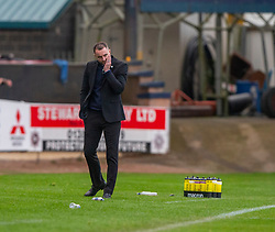Dundee manager James McPake after Partick Thistle's  third goal. Dundee 1 v 3 Partick Thistle, Scottish Championship game player 19/10/2019 at Dundee stadium Dens Park.