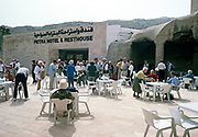 Swan Hellenic tour group tourists outside hotel and resthouse at Petra, Jordan in 1998