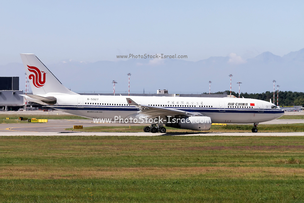 Air China Airbus A330-243, passenger jet landing. Photographed at Malpensa airport, Milan, Italy