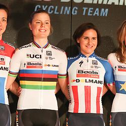 19-01-2017: Wielrennen: Persmoment Boels Dolmans: Valkenburg   <br />VALKENBURG (NED) wielrennen<br />In Chateau Sint Gerlach waar de groten der aarde overnachten presenteerde het Boels-Dolmans Womens Cyclingteam zich aan pers en genodigden. Cristine Majerus (Luxemburg), Amelie Diedriksen (Welredkampioen), Megan Guanier (USA)en Anna van der Breggen (Olympisch en Europees Kampioen)