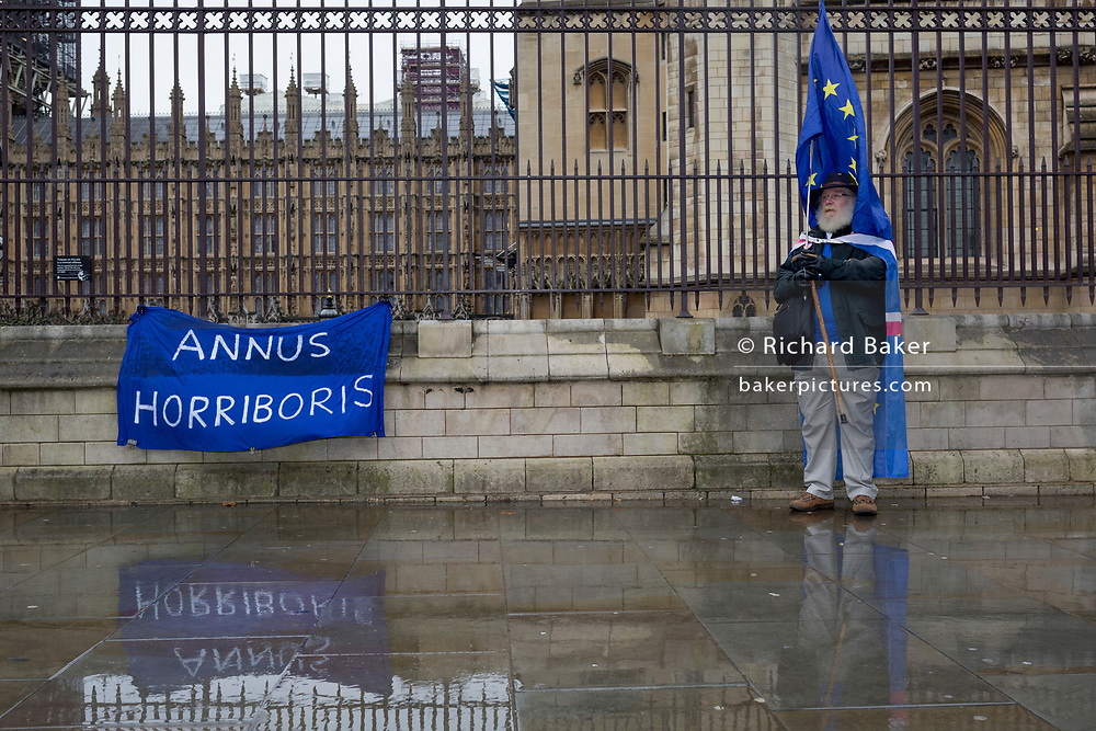 One day before Brexit Day (the date of 31st January 2020, when the UK legally exits the European Union), a pro-EU Remainer stands outside parliament alongside a Latin pun referring to Prime Minister Boris Johnson and the Queen's 'annus horribilis' (her 1992, a year of disaster fire at Windsor Castle and royal scandal). Remainers chose to celebrate the UK's membership with the EU for one last time for 'A party like there's no tomorrow' outside parliament, in Parliament Square, Westminster, on 30th January 2020, in London, England.