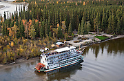 Fairbanks Alaska A view of a paddle boat sternwheeler the Discovery 3, river boat taking visitors on a tour along the Chena River