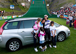 Primoz Peterka of Slovenia with his family wife Renata Bohinc Peterka and children son Maj, daughters Gaja and Stella after Ski Jumping Summer Continental Cup in Kranj and last jump of Primoz Peterka's career, one of the best ski jumpers in history, on July 2, 2011, in Kranj, Slovenia. (Photo by Vid Ponikvar / Sportida)